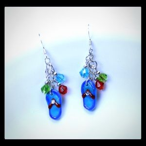 💖✨Blue Beaded Flip Flop Earrings✨💖